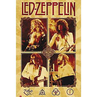 Led Zeppelin Quad Parchment Poster Poster Print