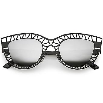Unique Laser Cut Out Cat Eye Sunglasses With Color Mirrored Lens 48mm