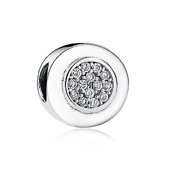 Sterling silver charm round with zirconia PAS111