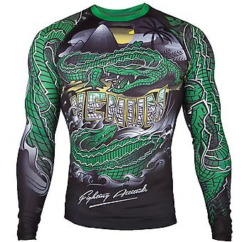 Venum Crocodile Dry Tech Long Sleeve MMA Rashguard - Black/Green
