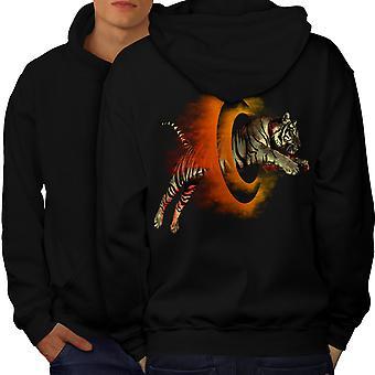 Tigre portails hommes Cool BlackHoodie dos | Wellcoda