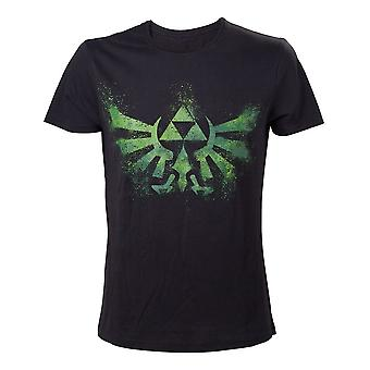 Nintendo Legend Of Zelda Adult Male Distress Green Royal Crest T-Shirt Extra Extra Large Black (TS240920NTN-2XL)