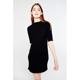 Side Party Ribbed Knit Dress With Curl Detail