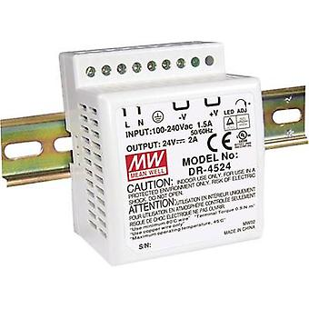 Rail mounted PSU (DIN) Mean Well DR-4524 24 Vdc 2 A 48 W 1 x