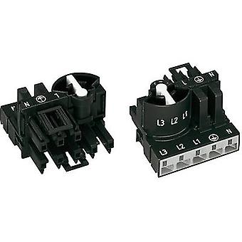 Mains distributor Mains plug-Mains socket Total number of pins: 4 + PE Black WAGO
