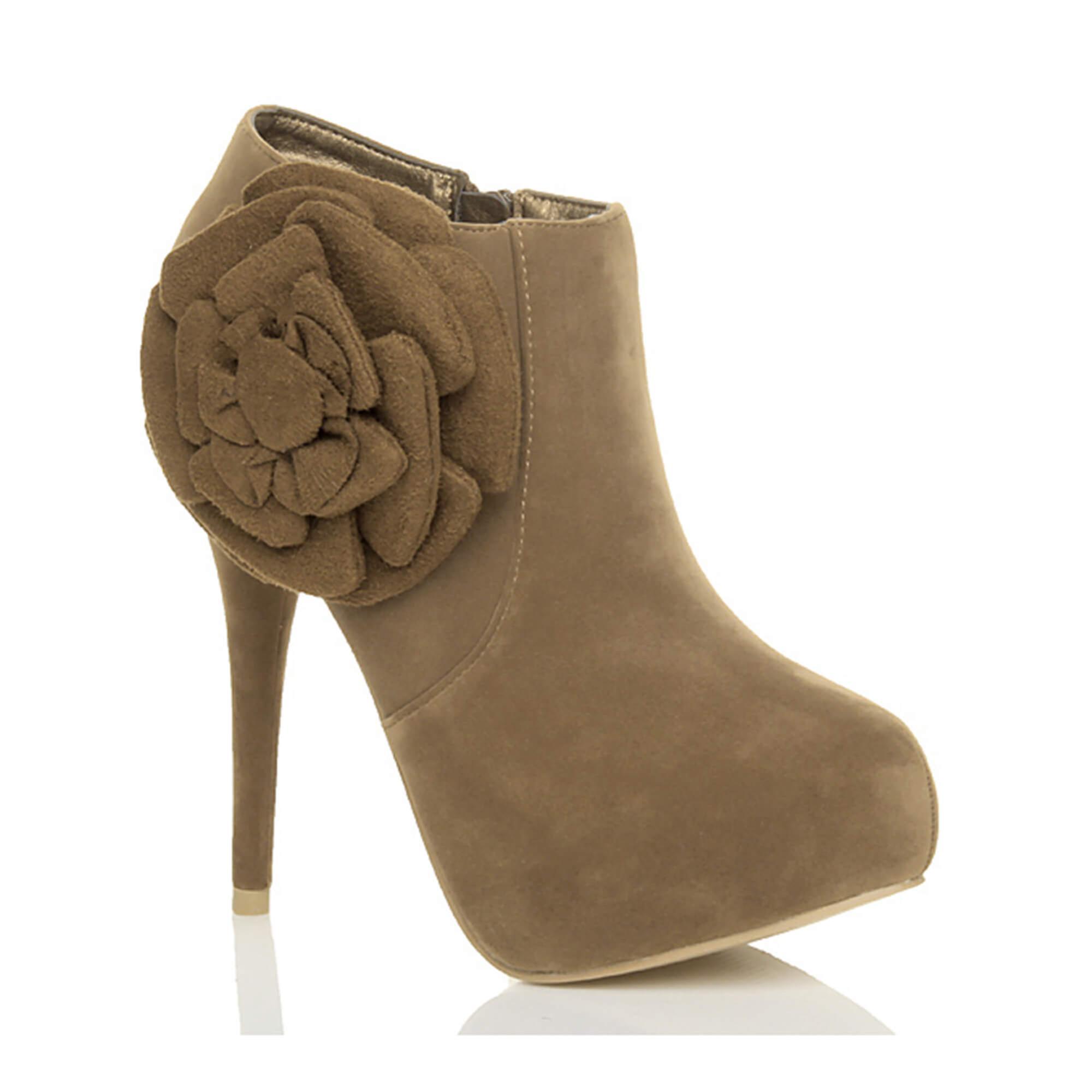 Ajvani womens high heel platform zip flower ankle booties shoe boots