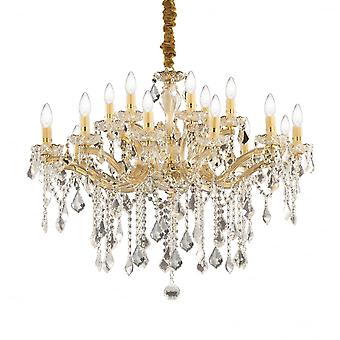 Ideal Lux Florian Gold Metal And Clear Crystal 18 Light Chandelier Light