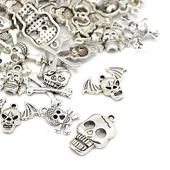 Packet 30 Grams Antique Silver Tibetan 5-40mm Skull Charm/Pendant Mix HA06690