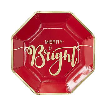 Gold Foiled Merry And Bright Christmas Paper Plates - Red & Gold Pack of 8 plates