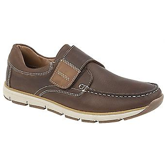 Mens Leather Lightweight Apron Touch Fastening Moccasin Boat Casual Shoes