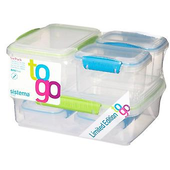 Sistema Klip It Set of 6 Storage Containers To Go, Green & Blue Clips