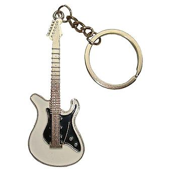 Bassin and Brown Guitar Key Ring - White