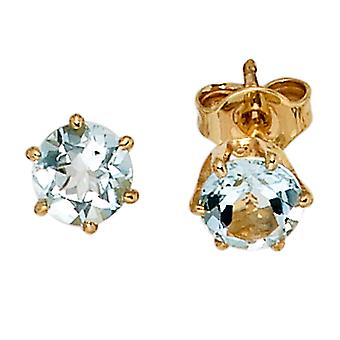 Aquamarine earrings 585 Gold Yellow Gold 2 aquamarine blue gold earrings