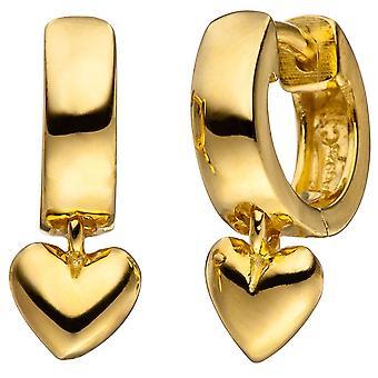Creolen Herz 925 Silber gold vergoldet Ohrringe Herzohrringe