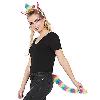 Einhorn set 2 parts headband with ears and Horn tail Unicorn costume adult