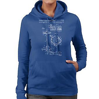 Hi Hat Stand Patent Patent Blueprint Women's Hooded Sweatshirt