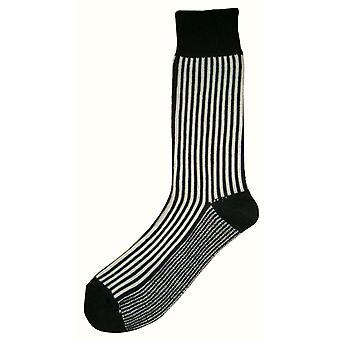 Bassin and Brown Vertical Stripe Midcalf Socks - Black/White