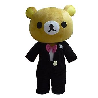 mascot big Teddy bear Brown, dressed in a nice black suit SPOTSOUND