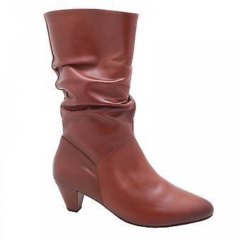 Gabor Calf High Brown Leather Slouch Boot