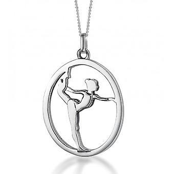 Sæt sølv vedhæng ' gulvet gymnast / gymnast' på sølv kæde (15 mm/38 cm)