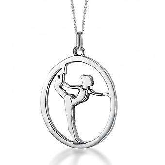 Set Silberanhänger 'Bodenturnerin / Gymnastin' an Silberkette (15mm/38cm)