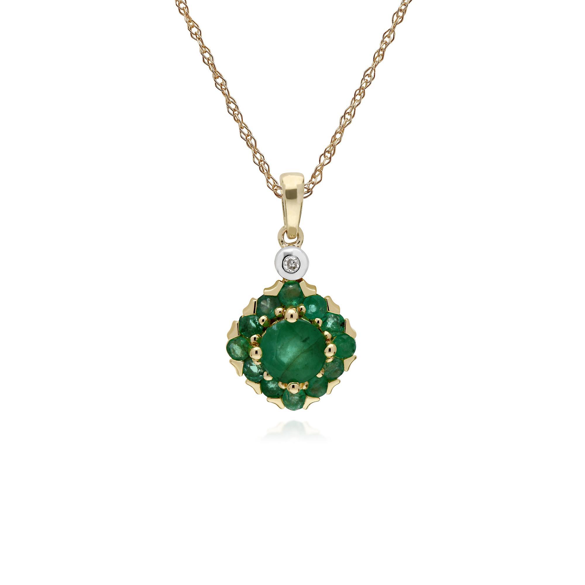 Gemondo 9ct jaune or Emerald & Diamond Square Cluster pendentif on 45cm chaîne