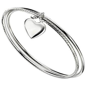 Beginnings Heart Double Diamond Cut Bangle - Silver