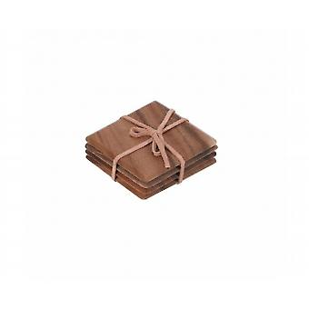 Tuscany Set Of 4 Square Coasters With Leather Tie In Acacia 10485