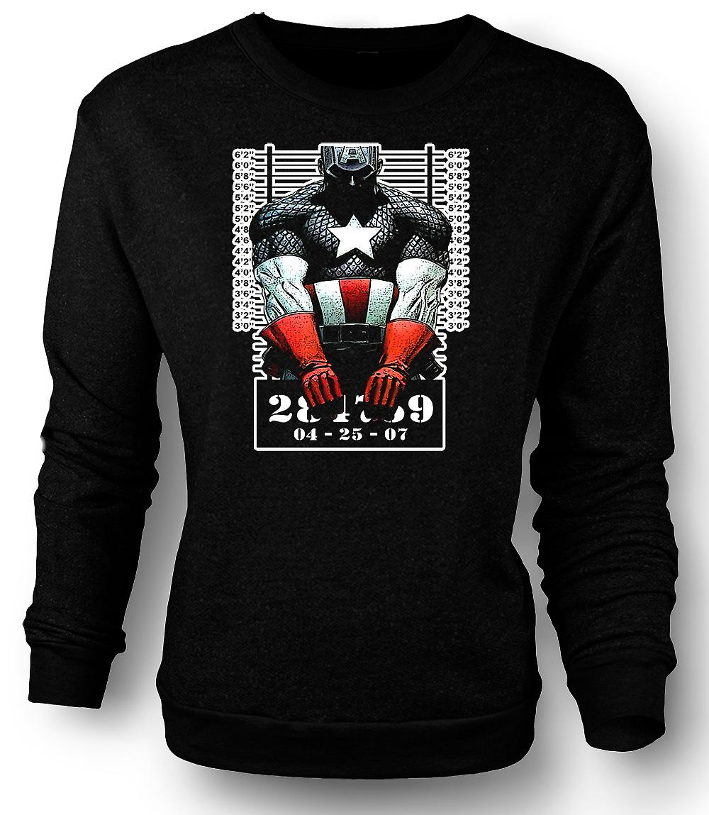 Mens Sweatshirt Captain America - Cartoon - Mug Shot