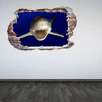 Full Colour Great White Shark Smashed Wall 3D Effect Wall Sticker