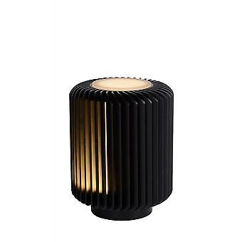 Lucide Turbin moderno cilindro alluminio lampada da tavolo nero