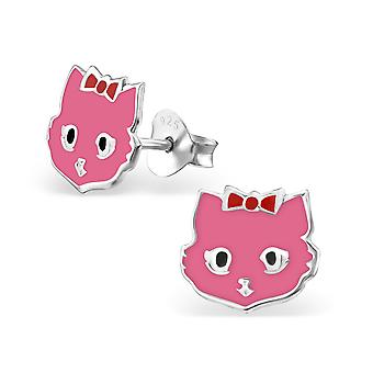 Cat - 925 Sterling Silver Colourful Ear Studs - W4721X