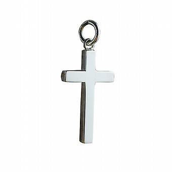 Silver 25x15mm plain solid block Cross