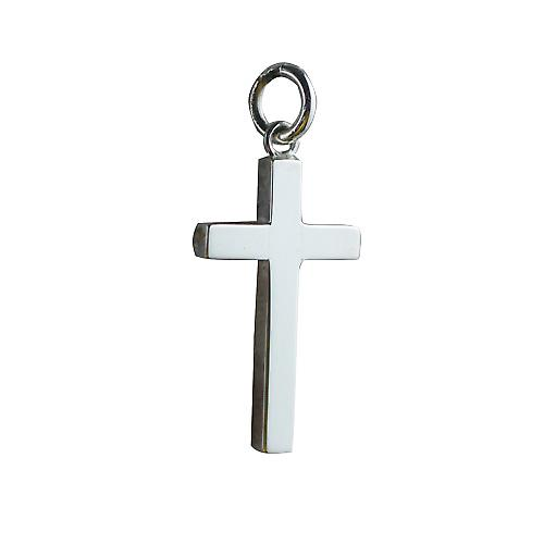 Silver 25x15mm plain solid block Cross