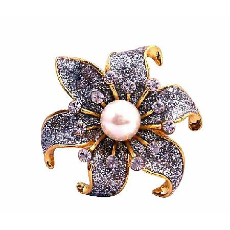 Gold Plated Glittered Sunflower Cubic Zircon White Faux Pearl Brooch