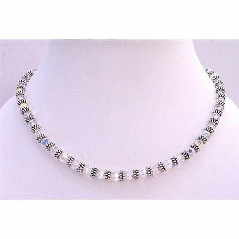 Bruidsmode AB Swarovski kristallen ketting w / Bali zilveren Spacer