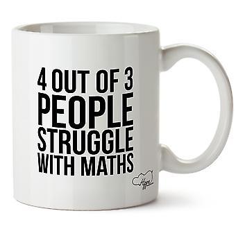 Hippowarehouse 4 de 3 pessoas luta com matemática impresso caneca copo cerâmico 10oz