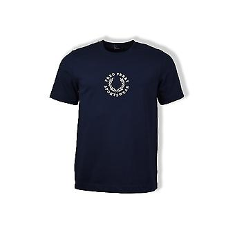 Fred Perry Circular Embroidered T-Shirt (Carbon Blue)