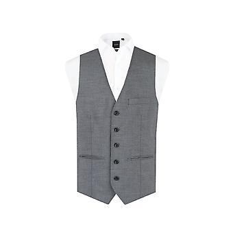 Dobell Mens Grey Sharkskin Waistcoat Regular Fit 5 Button