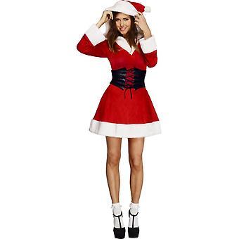 Feber samling hette Santa kjole underskjørt med hette og belte størrelse L