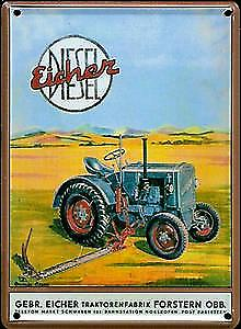 Eicher Diesel Tractor metal postcard / mini-sign  (hi)