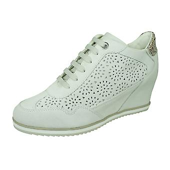 Womens Geox Trainers D Illusion B Suede Wedge Boots - Off White