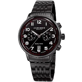 Akribos XXIV hombre multifunción reloj pulsera de tiempo dual AK942BK