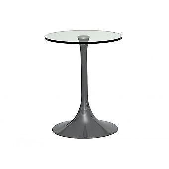 Gillmore Space Pedestal Side Table Vetro chiaro e cromo affumicato