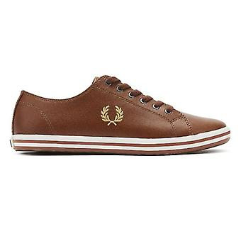 Fred Perry Kingston Hombres Tan / Gold Entrenadores de Cuero