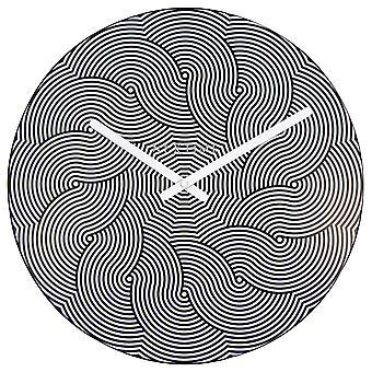 NeXtime - Wall clock – Ø 40 cm - Plastic - Black/White – 'Waves'