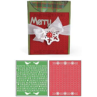 Sizzix Bigz Xl Bonus Textured Impressions By Basic Grey Nordic Holiday A2 Card, Cross Stitch Set 658187
