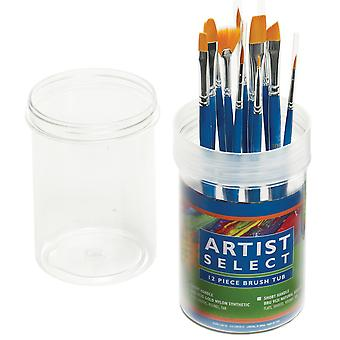Artist Select Short Handle Assorted Brush Tub 12 Pkg Gold Nylon 9530
