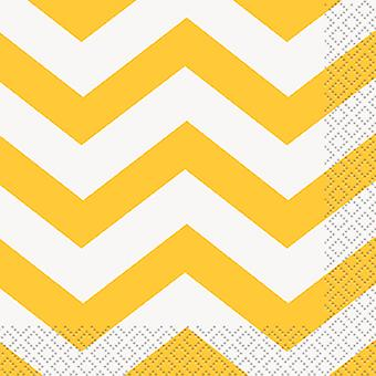 Serviettes de table boisson 5 « X 5 » 16 Pkg Chevron jaune tournesol Cbnpk 38591