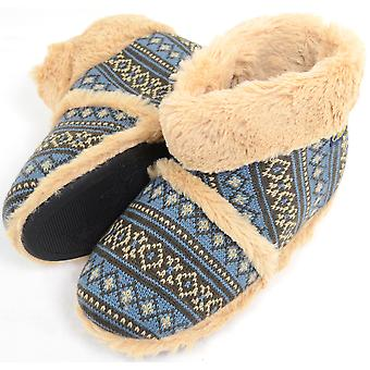 Mens Knitted Style Slipper Boots / Booties with Warm Faux Fur Lining and Cuff - Black - Small (UK7 / UK8)